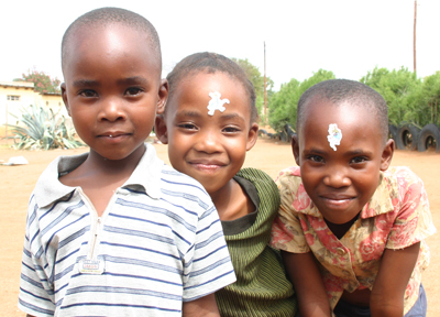 Children at a Baylor outreach visit in Botswana