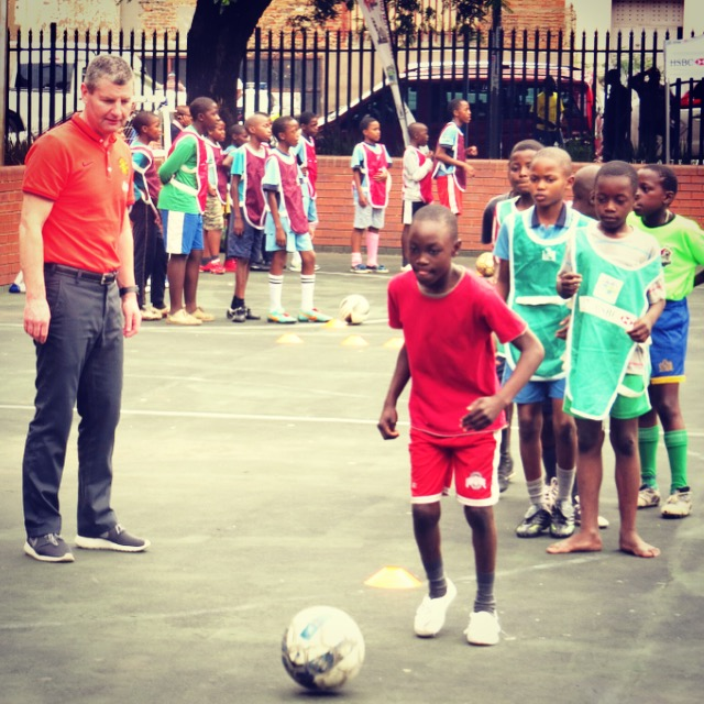 Denis Irwin visiting our Coaching for Hope programme in Johannesburg